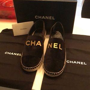 Chanel Velvet logo Espadrilles Flats Dust bags New